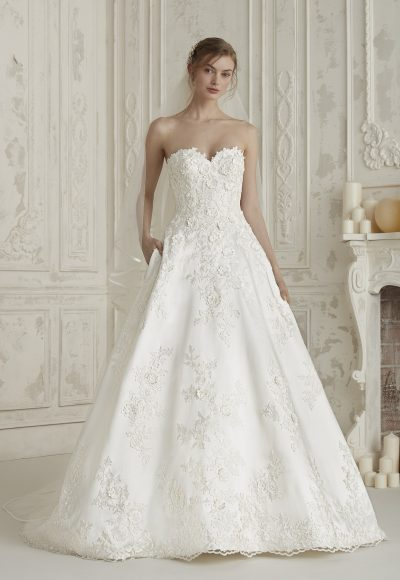 Strapless Sweetheart Neck Floral Applique Bll Gown Wedding Dress by Pronovias