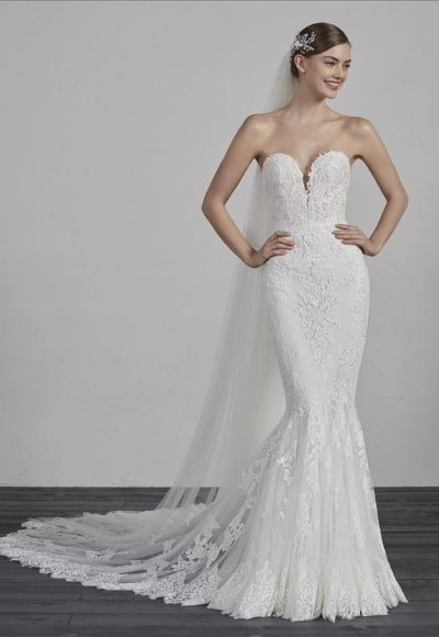 Strapless Sweetheart Neck Lace Mermaid Wedding Dress by Pronovias