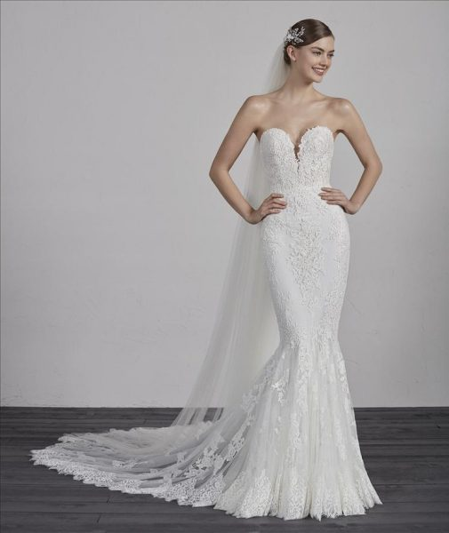 Strapless Sweetheart Neck Lace Mermaid Wedding Dress By Ovias Image 1