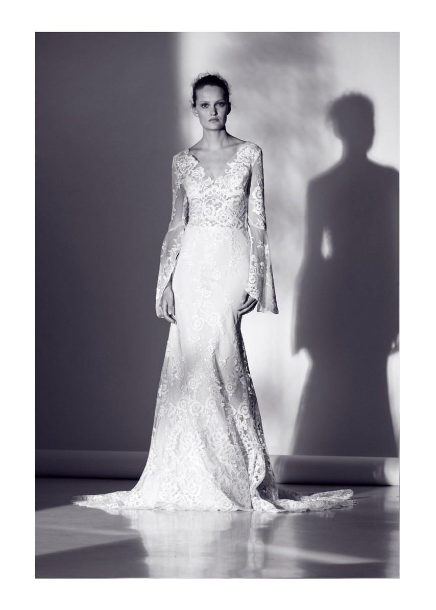 A-line Wedding Dress With Long Sleeves And V-neckline | Kleinfeld Bridal