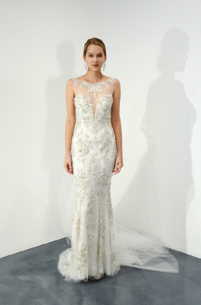 Illusion Beaded Sweetheart Neck Fit And Flare Wedding Dress by Stephen Yearick - Image 1