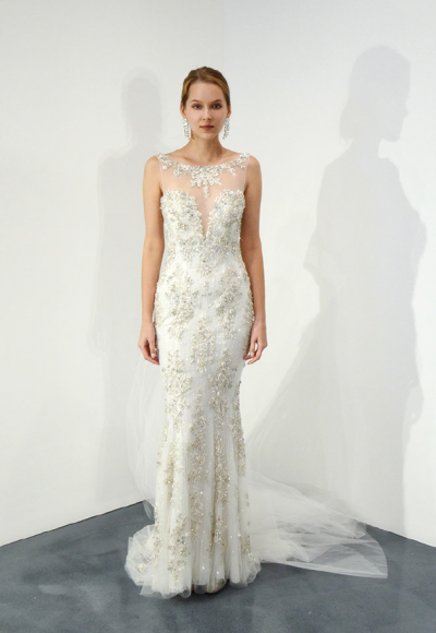 Illusion Beaded Sweetheart Neck Fit And Flare Wedding Dress by Stephen Yearick