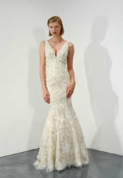 Sleeveless V-neck Beaded Fit And Flare Wedding Dress by Stephen Yearick