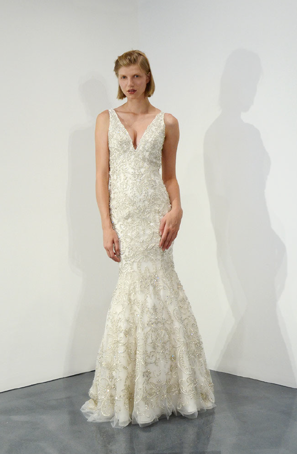 Sleeveless V-neck Beaded Fit And Flare Wedding Dress   Kleinfeld ...
