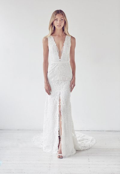 Deep V-neck Lace Fit And Flare Center Slit Wedding Dress by Suzanne Harward