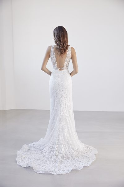 Deep V-neck Lace Fit And Flare Wedding Dress by Suzanne Harward - Image 2