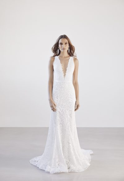 Deep V-neck Lace Fit And Flare Wedding Dress by Suzanne Harward