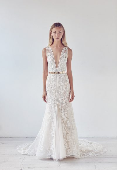 Deep V-neck Metal Belt Lace A-line Wedding Dress by Suzanne Harward