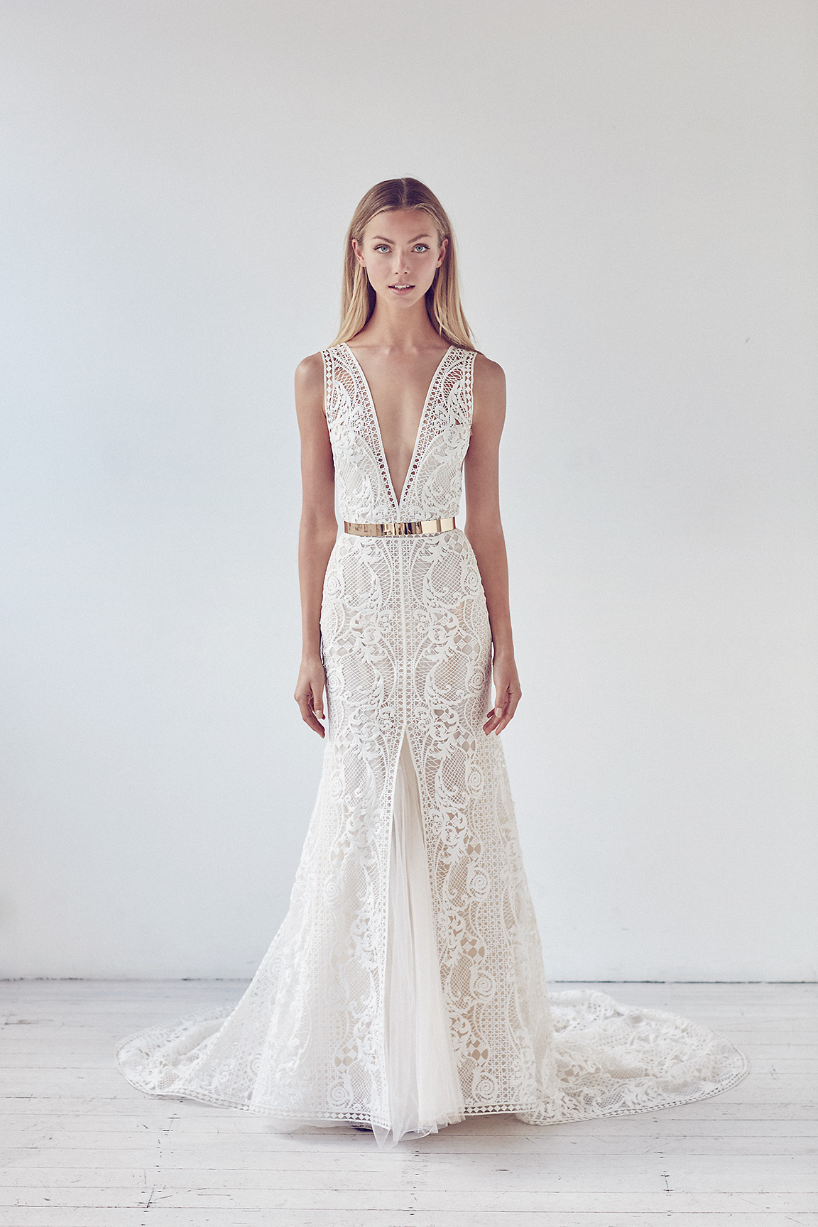 Deep V-neck Metal Belt Lace A-line Wedding Dress | Kleinfeld Bridal