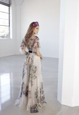 Illusion Colored Floral Soft Sleeve A-line Wedding Dress by Suzanne Harward - Image 2
