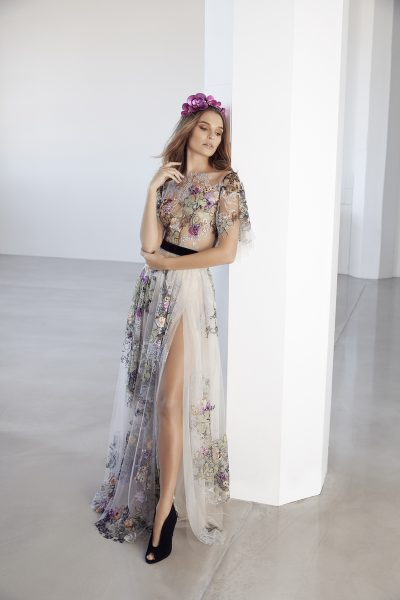 Illusion Colored Floral Soft Sleeve A-line Wedding Dress by Suzanne Harward - Image 1