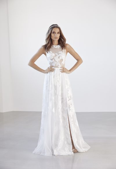 Illusion Floral Applique Sleeveless A-line Wedding Dress by Suzanne Harward