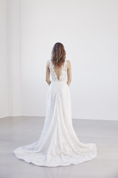 Illusion Floral V-neck Bodice A-line Wedding Dress by Suzanne Harward - Image 2