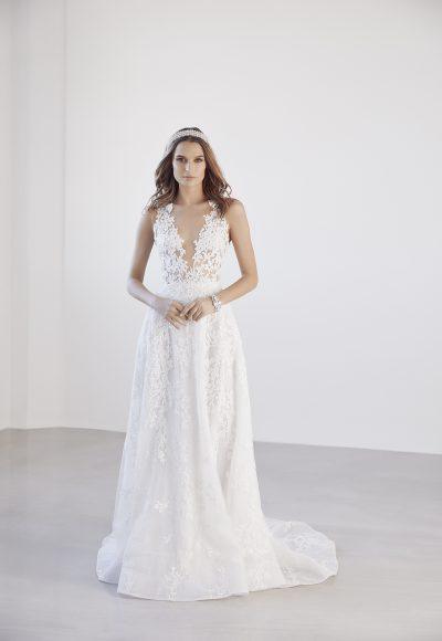 Illusion Floral V-neck Bodice A-line Wedding Dress by Suzanne Harward