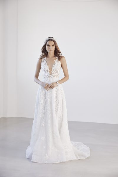 Illusion Floral V-neck Bodice A-line Wedding Dress by Suzanne Harward - Image 1