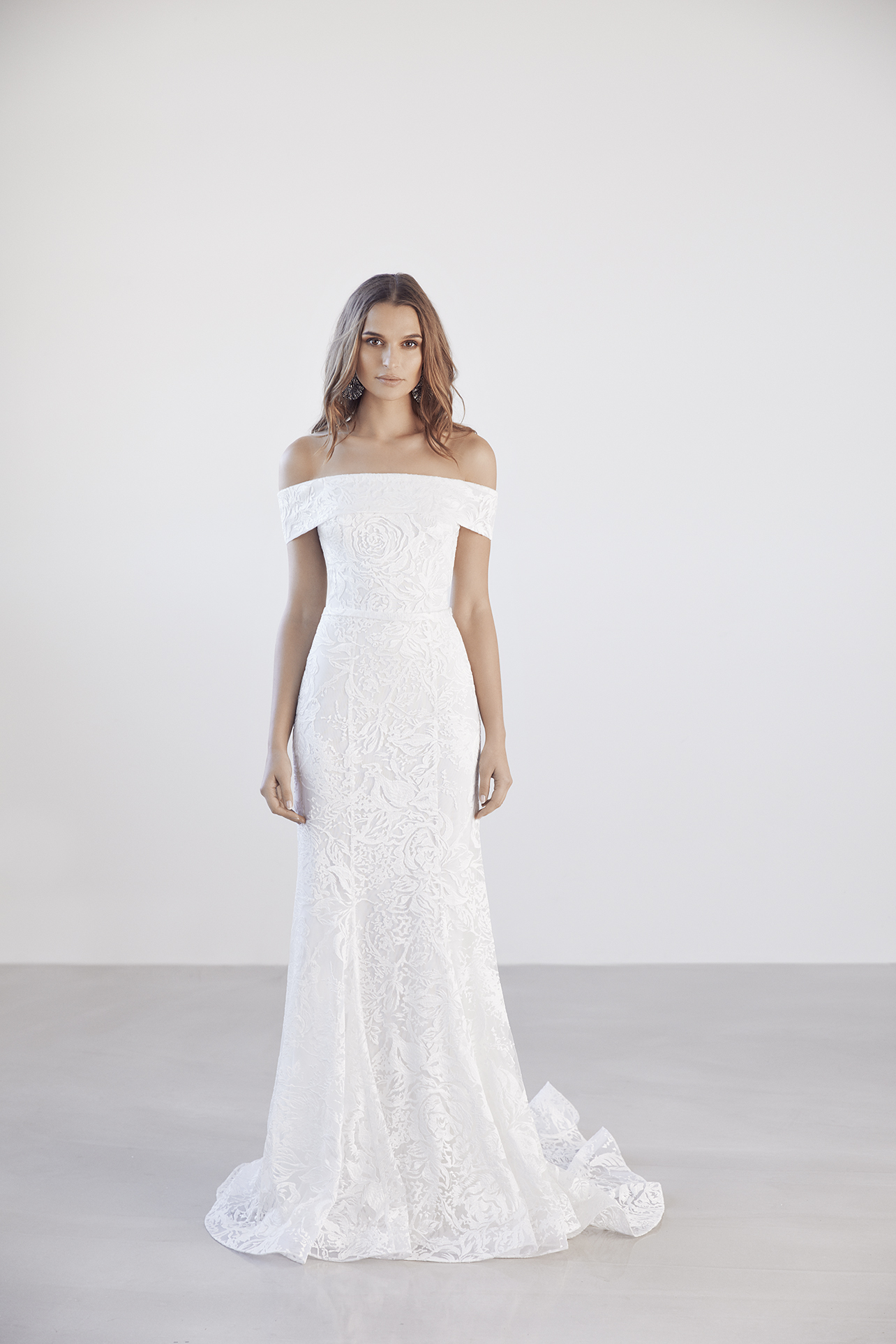 Off The Shoulder Straight Neckline Lace Fit And Flare Wedding Dress