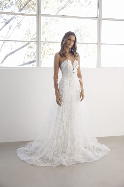 Sweetheart Neck 3D Floral Applique Fit And Flare Wedding Dress by Suzanne Harward - Image 1