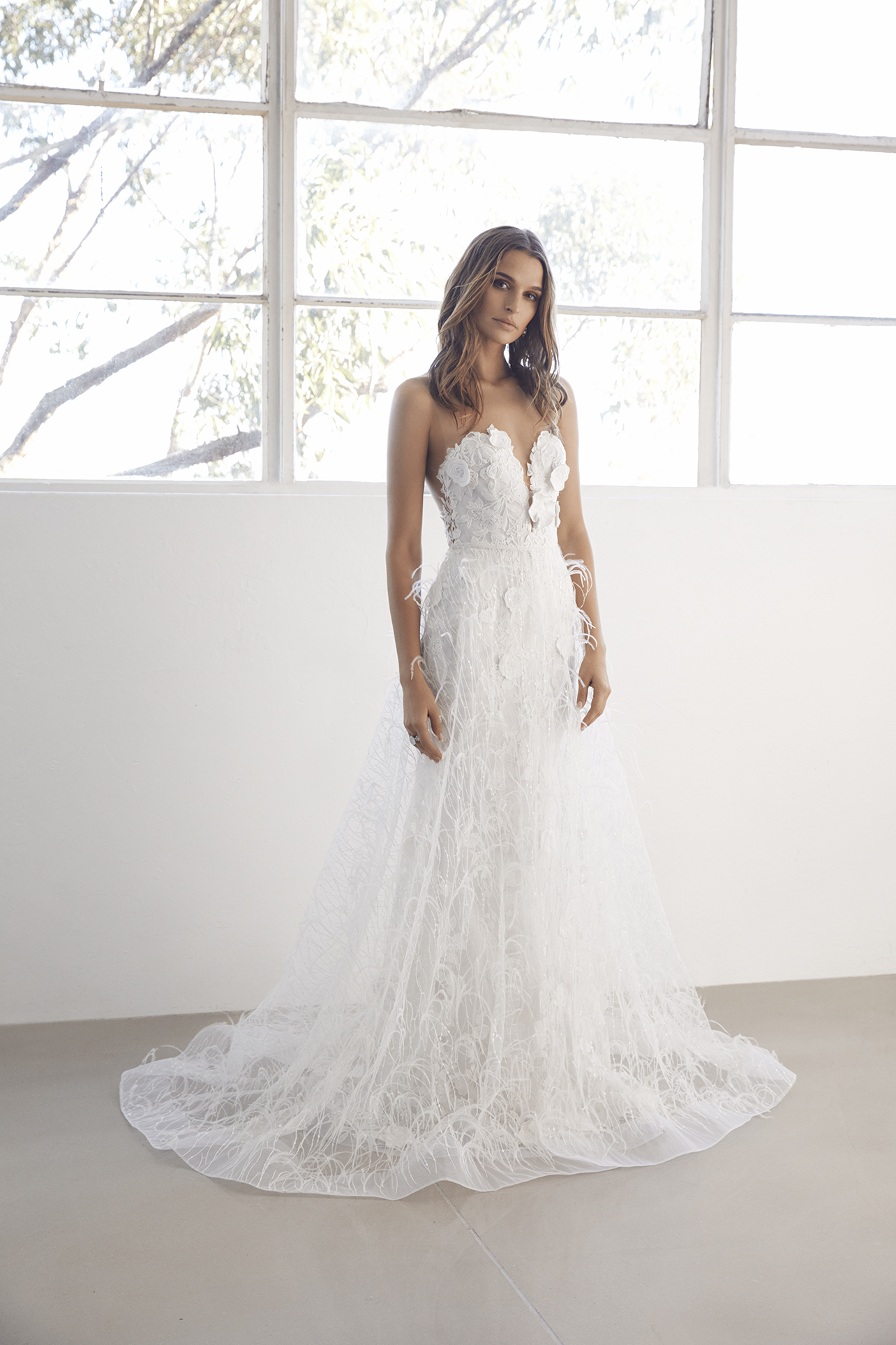Sweetheart Neck 3D Floral Applique Fit And Flare Wedding Dress ...