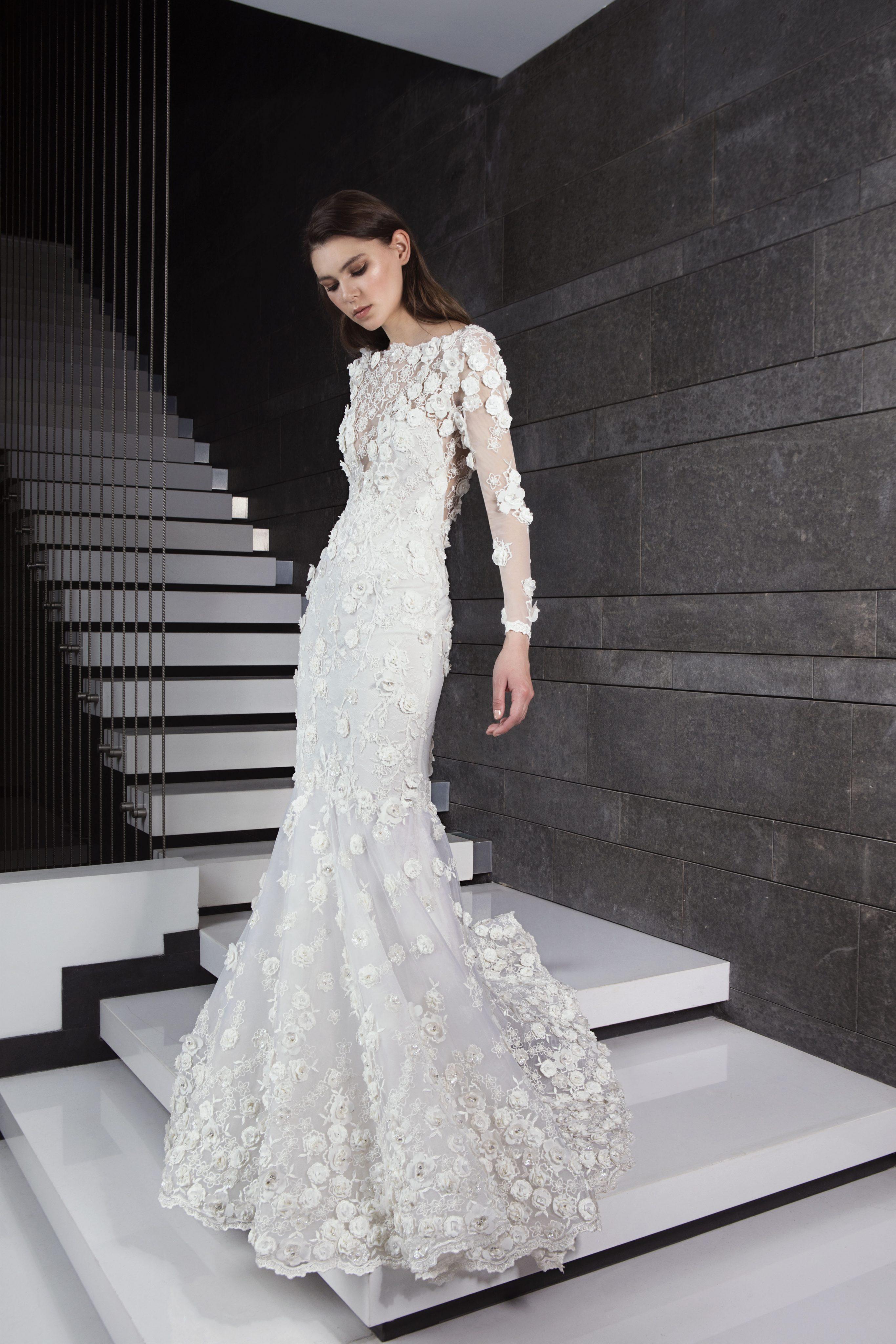 Long Sleeve 3D Floral Applique Mermaid Wedding Dress | Kleinfeld Bridal