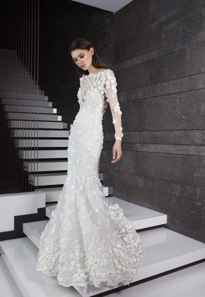 Long Sleeve 3D Floral Applique Mermaid Wedding Dress by Tony Ward
