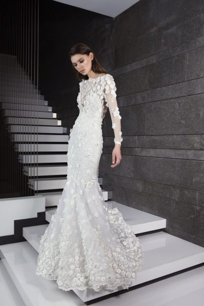 Long Sleeve 3D Floral Applique Mermaid Wedding Dress | Kleinfeld Bridal