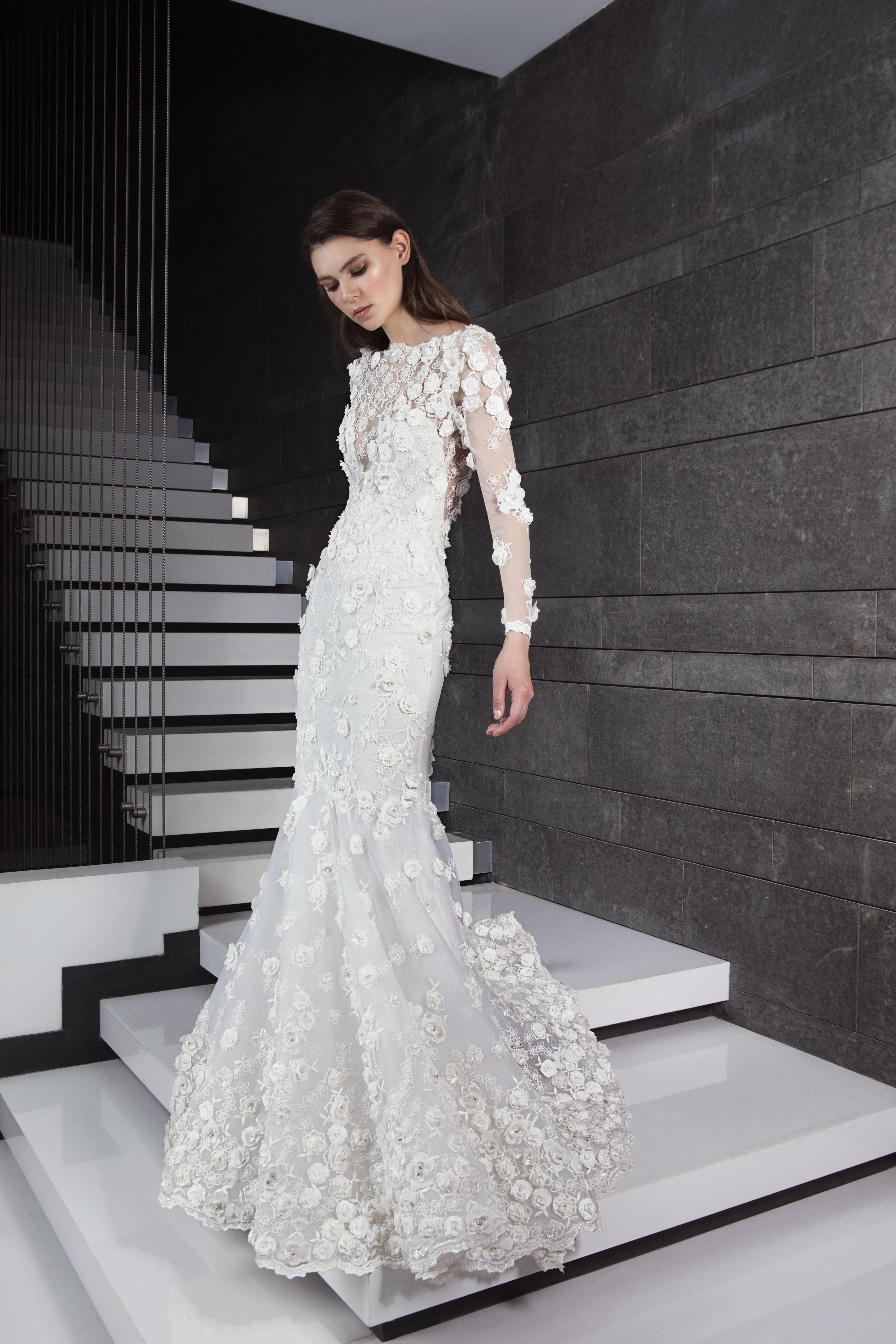 3c5c20dfac43 Long Sleeve 3D Floral Applique Mermaid Wedding Dress | Kleinfeld Bridal