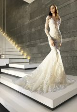 Long Sleeve Deep V-neck Embroidery Detailed Mermaid Wedding Dress by Tony Ward - Image 1
