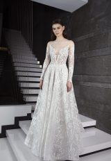 Long Sleeve Illusion Deep Sweetheart Neck Lace A-line Wedding Dress by Tony Ward - Image 1