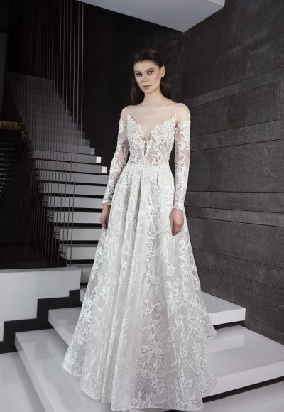 Long Sleeve Illusion Deep Sweetheart Neck Lace A-line Wedding Dress by Tony Ward