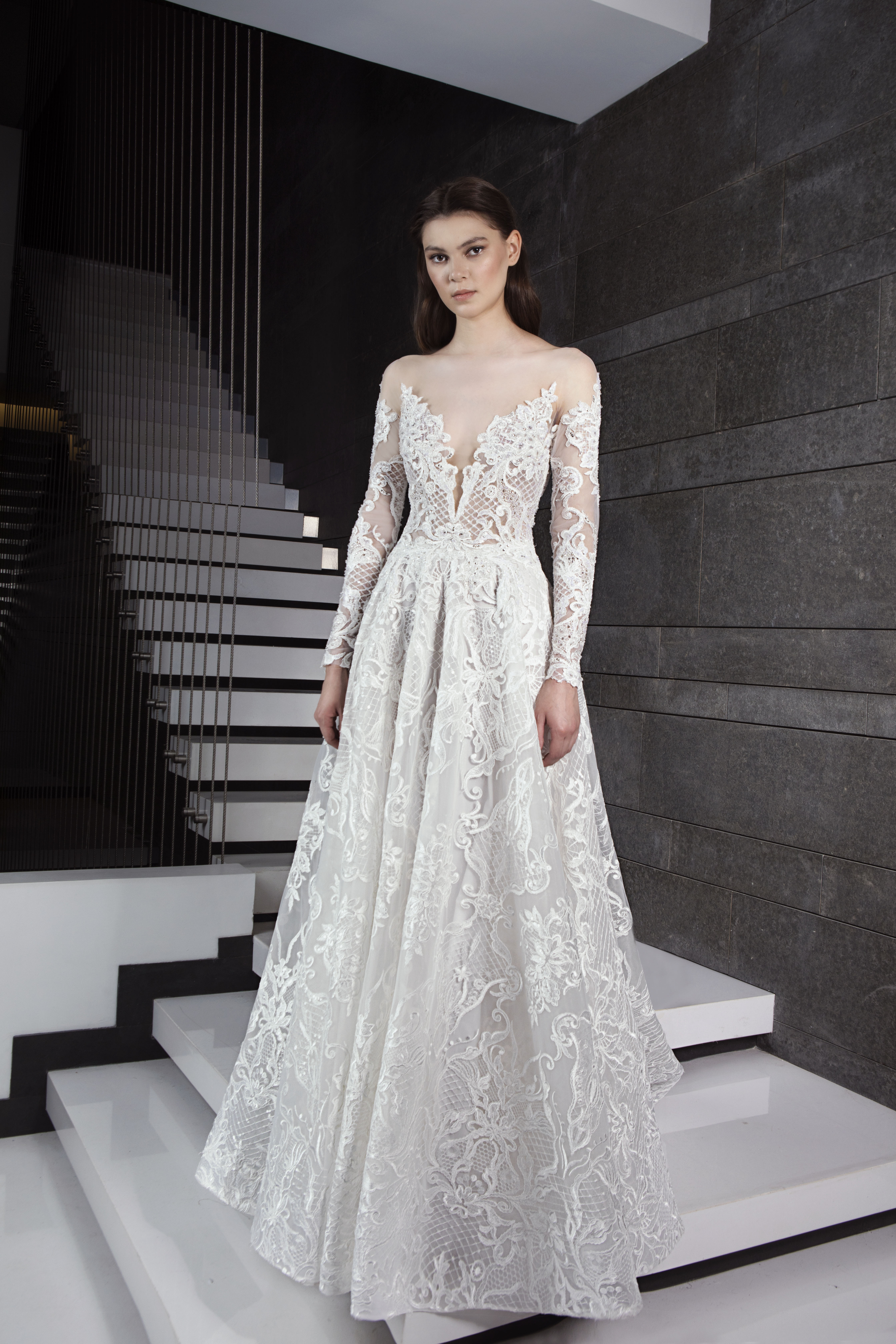 c94afd5d30 A Line Wedding Gown With Long Sleeves - Gomes Weine AG