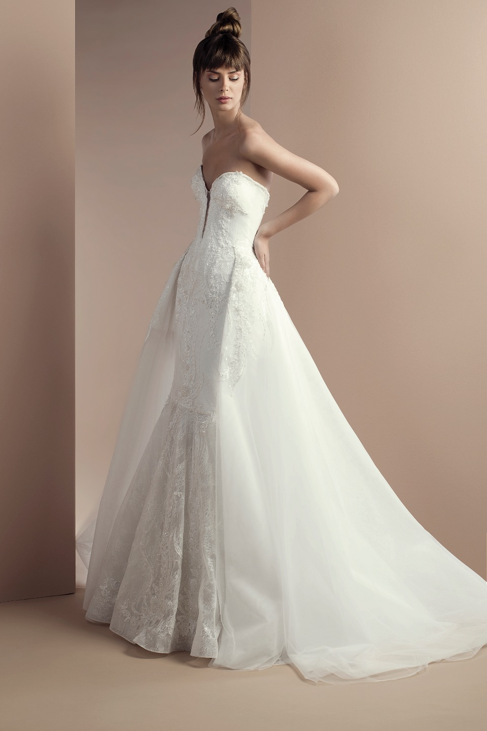 Off White Lace And Embroidered Mermaid Dress With Overskirt ...