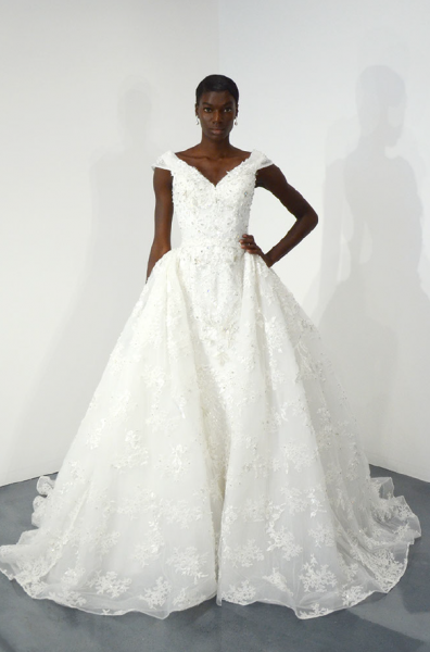 Cap Sleeve Beaded Lace Ball Gown Wedding Dress by Ysa Makino - Image 1