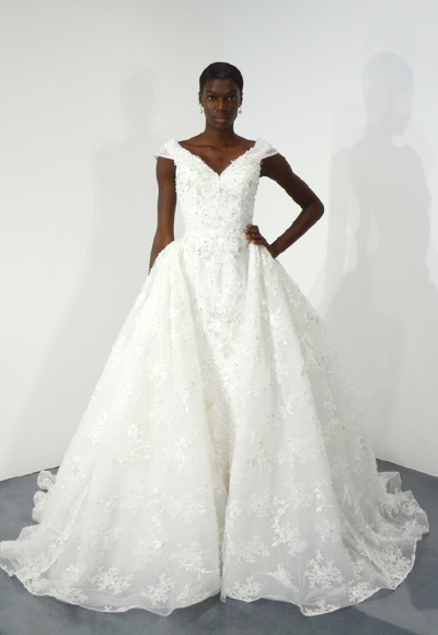 Cap Sleeve Beaded Lace Ball Gown Wedding Dress by Ysa Makino