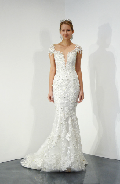 Cap Sleeve V-neck Beaded Lace Fit And Flare Wedding Dress by Ysa Makino - Image 1