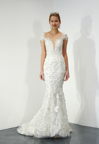 Cap Sleeve V-neck Beaded Lace Fit And Flare Wedding Dress by Ysa Makino