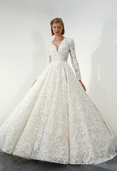 Long Sleeve Beaded Lace Ball Gown Wedding Dress by Ysa Makino
