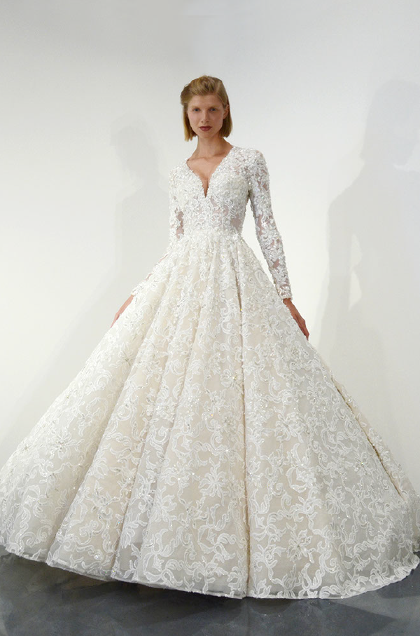 Long Sleeve Beaded Lace Ball Gown Wedding Dress | Kleinfeld Bridal