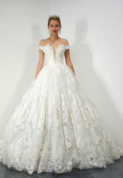 Off The Shoulder Lace Ball Gown Wedding Dress by Ysa Makino