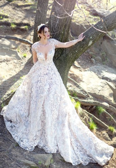 Romantic Long Sleeve Beaded And Embroidered Illusion Ball Gown Wedding Dress by Ysa Makino
