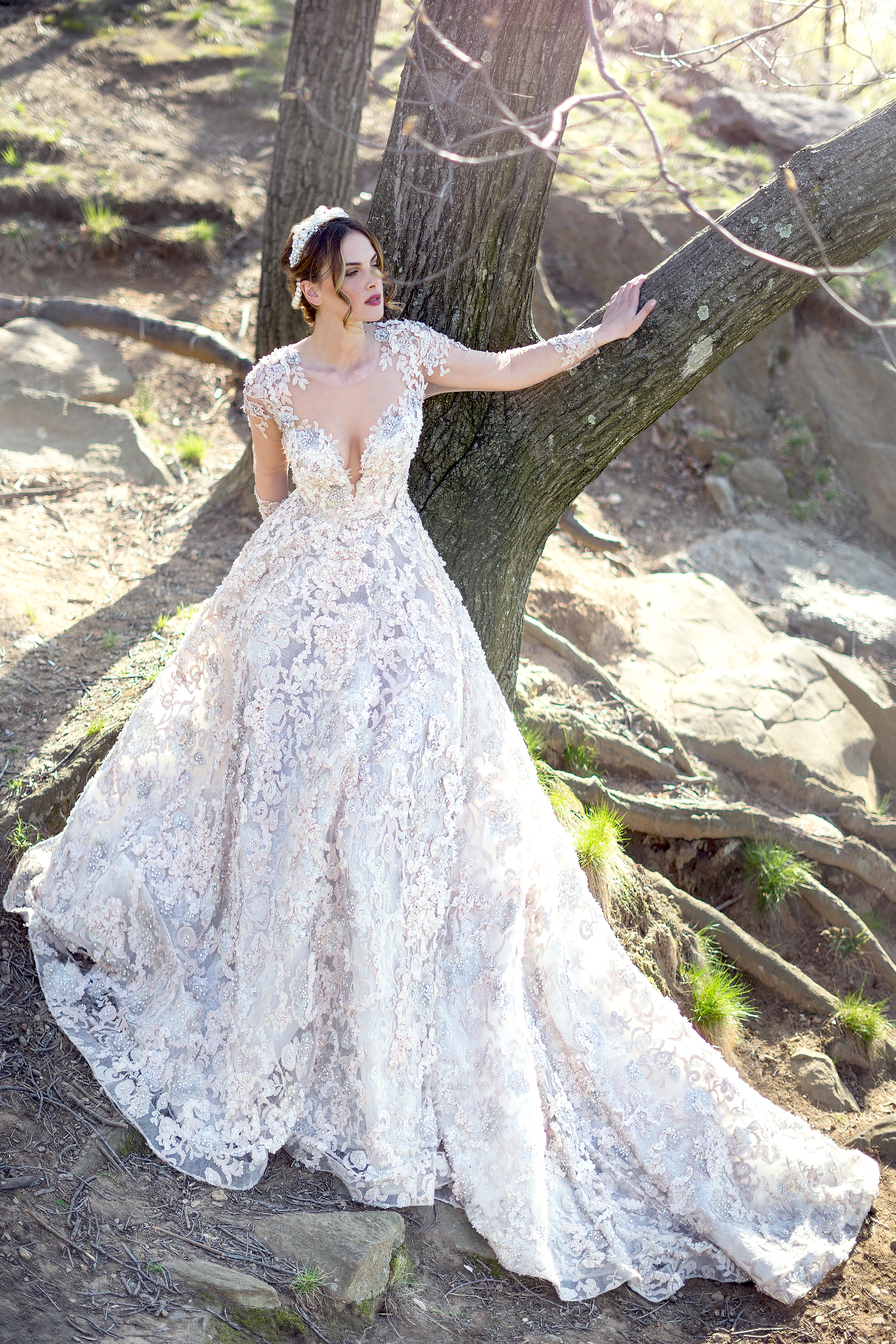 Romantic Long Sleeve Beaded And Embroidered Illusion Ball Gown ...