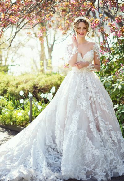 Romantic Long Sleeve Off-the-shoulder Lace Beaded And Embroidered Wedding Dress by Ysa Makino