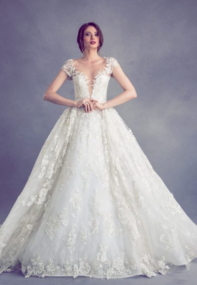 Romantic V-neck Ball Gown Wedding Dress by Ysa Makino