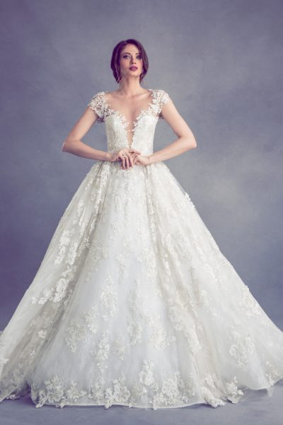Romantic V-neck Ball Gown Wedding Dress by Ysa Makino - Image 1