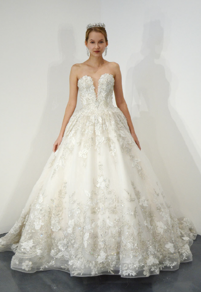 Strapless Beaded Lace Sweetheart Neck Ball Gown Wedding Dress by Ysa Makino