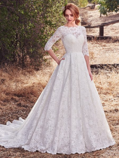 Bateau Neckline Lace 3/4 Sleeves Ball Gown Wedding Dress by Maggie Sottero - Image 1