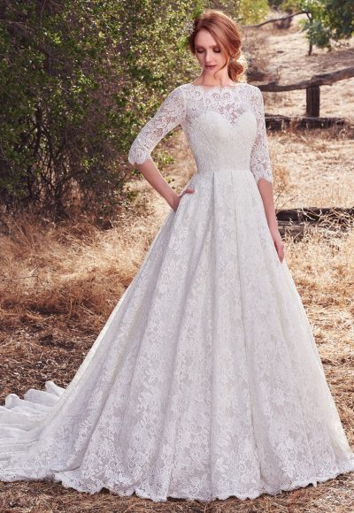 Bateau Neckline Lace 3/4 Sleeves Ball Gown Wedding Dress by Maggie Sottero