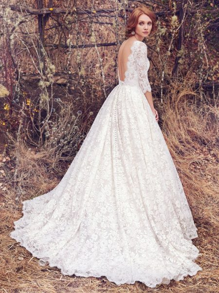 Bateau Neckline Lace 3/4 Sleeves Ball Gown Wedding Dress by Maggie Sottero - Image 2
