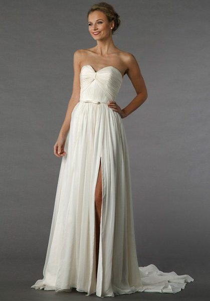Sweetheart Strapless A-line Chiffon Wedding Dress by Alita Graham - Image 1