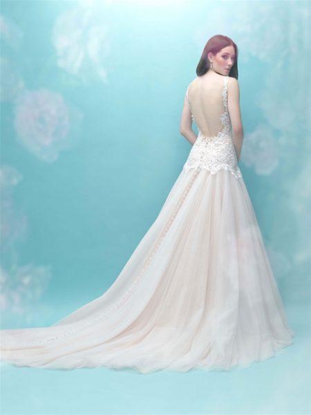 Beaded Bodice V-neck Sleeveless A-line Wedding Dress by Allure Bridals - Image 2