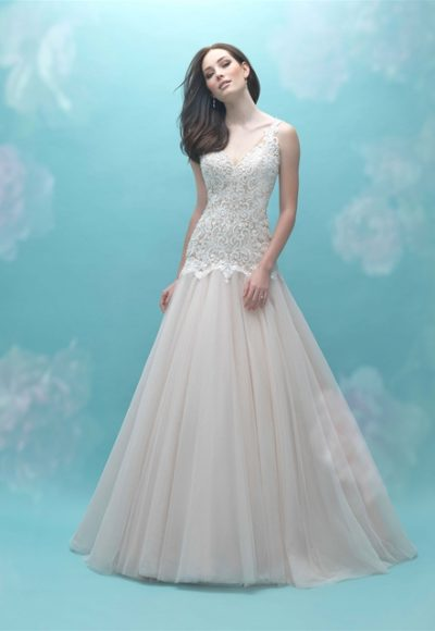Beaded Bodice V-neck Sleeveless A-line Wedding Dress by Allure Bridals